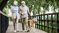 older couple walking a dog outside