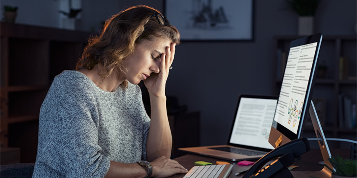 Woman is stressed at work